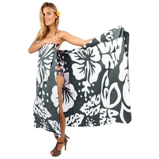 La Leela Women's Grey Rayon 78-inch x 43-inch Hibiscus Pareo Wrap Sarong With Free Clip