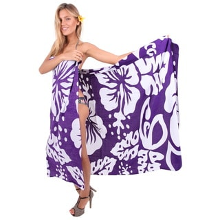 La Leela Women's Hibiscus Palmate Purple Rayon 78-inch x 43-inch Cover-up Pareo Wrap Sarong With Free Sarong Clip