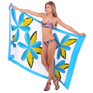 La Leela Women's Turquoise Rayon 78-inch x 43-inch Plus Size Clematis Beach Cover-up Sarong With Free Clip