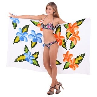 La Leela Rayon Floral Hand Paint Cover up Bikini Skirt Sarong 78X43Inch Blue