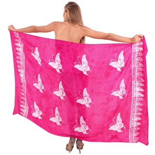 La Leela Smooth Rayon Butterfly Hand Paint Bikini Wrap Pareo 78X43 Inch Pink