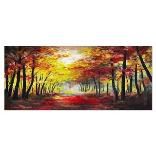 Designart 'Walk Through Autumn Forest' Landscape Metal Wall Art