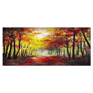 Designart 'Walk Through Autumn Forest' Landscape Metal Wall Art