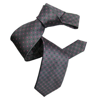 Dmitry Men's Grey Silk Patterned Italian Tie