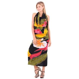 La Leela Rayon Floral Hand Paint Beach Cover up Sarong Skirt 78X43Inch Black