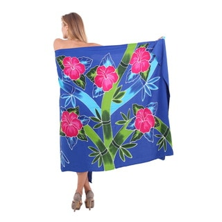 La Leela Women's Hibiscus Cluster Branch Blue Rayon 78-inch x 43-inch Cover-up Sarong Wrap With Free