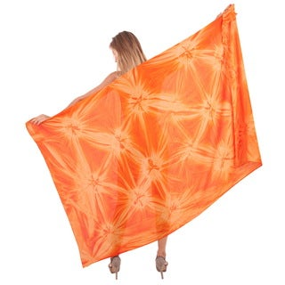 La Leela Women's Pareo Orange Rayon Hand-Dyed Cover-up Sarong With Free Sarong Clip