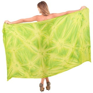 La Leela Smooth Hand Tie Dye Green Rayon 78-inch x 43-inch Cover up Pareo Women Sarong With Free Sarong Clip