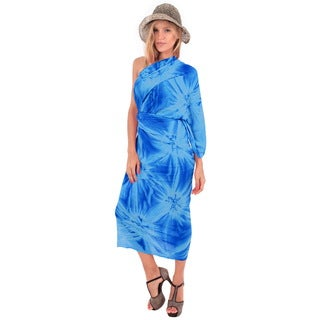 La Leela Women's 78-inch x 43-inch Blue Tie-dye Rayon Pareo Wrap with Sarong Clip