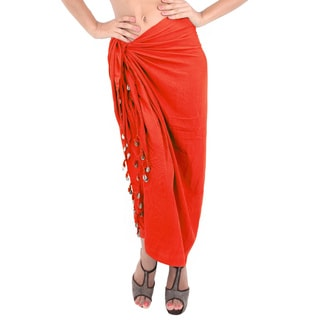 La Leela Women's Gentle Rayon Solid Tassels Shells Dark Orange 70-inch x 43-inch Cover-up Sarong wit