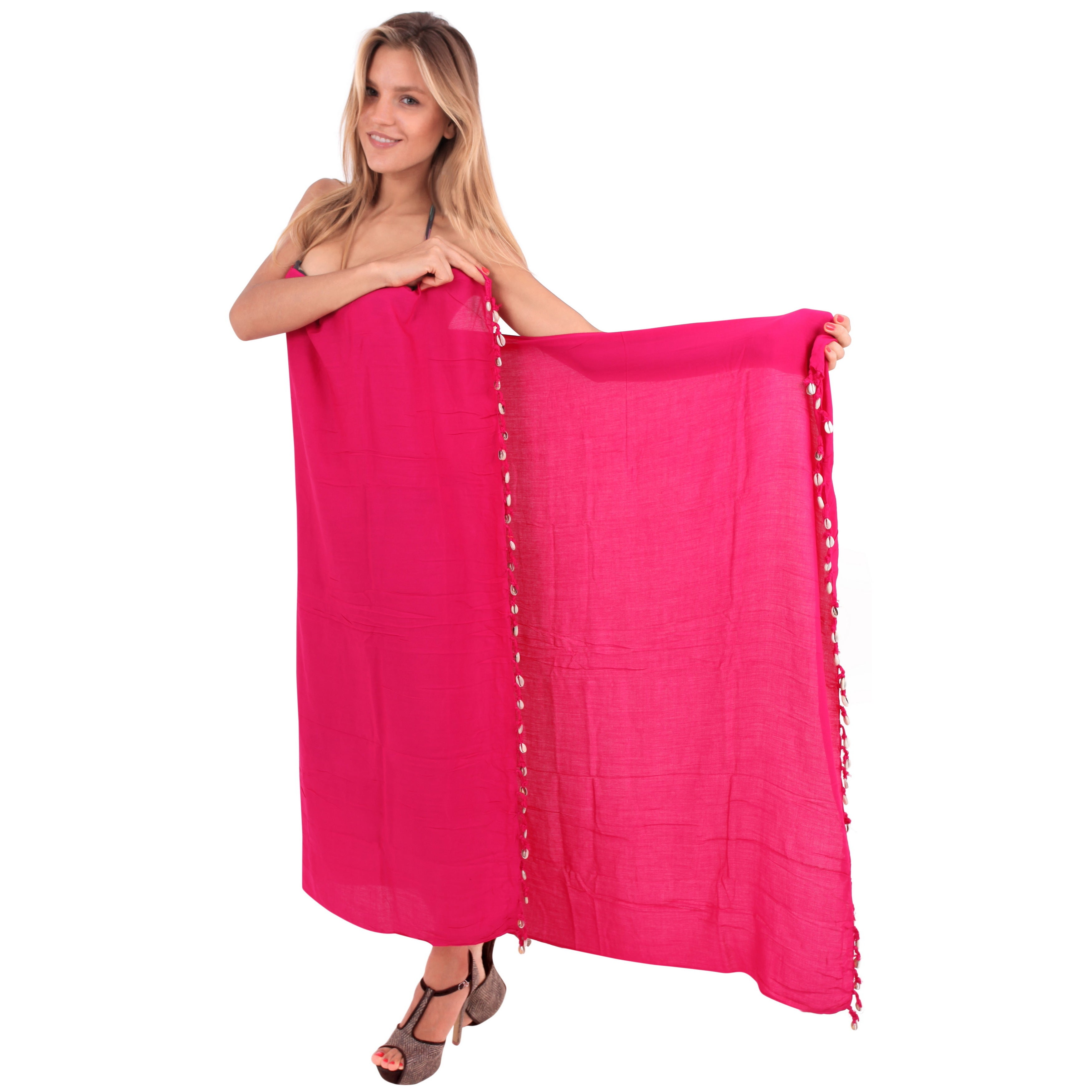 8c8194359605f Shop La Leela Women's Pink Rayon 70-inch x 43-inch Shell Tassled Beach  Cover-up Sarong With Free Clip - Free Shipping On Orders Over $45 -  Overstock - ...
