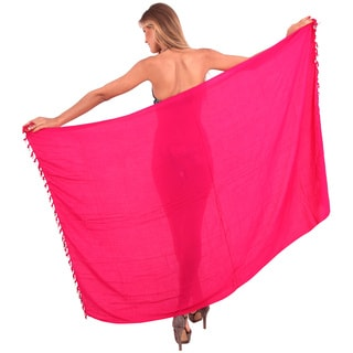 La Leela Women's Pink Rayon 70-inch x 43-inch Shell Tassled Beach Cover-up Sarong With Free Clip