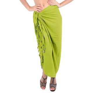 La Leela Women's Green Rayon 70-inch x 43-inch Tassels and Shells Cover-up Sarong With Free Clip