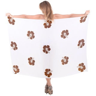 La Leela Women's Caribbean Hibiscus Sarong Brown Smooth Rayon Cover Up with Free Sarong Clip