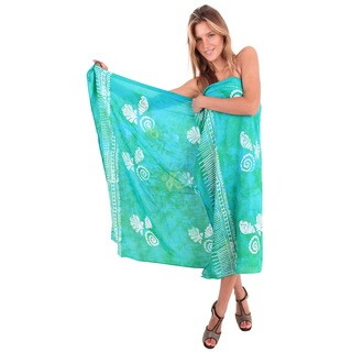 La Leela Women's Sea Green Rayon 78-inch x 43-inch Shell Swirl Pareo Wrap With Sarong Clip