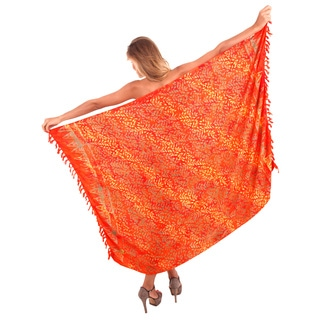 La Leela Women's 78-inch x 43-inch Orange Shimmering Leaf Rayon Coverup Sarong with Sarong Clip
