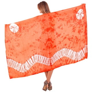 La Leela Women's Wave Beach Plus-size 78-inch x 43-inch Orange Smooth Rayon Hand Tie-dye Swimwear Coverup - Free Sarong Clip