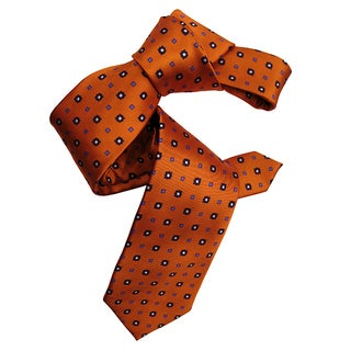 Dmitry Men's Italian Patterned Orange Silk Tie