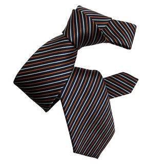 Dmitry Men's Italian Navy and Orange Silk Striped Tie