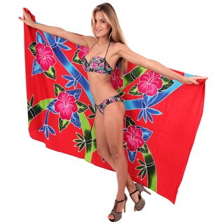 La Leela Women's Hibiscus Cluster Red Soft Rayon 78-inch x 43-inch Sarong Wrap Cover Up With Free Sa