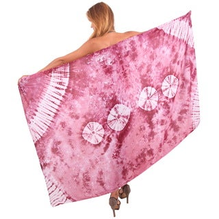La Leela Women's Sphere Peach Rayon 78-inch x 43-inch Hand-tie-dyed Beach Skirt Cover-up With Free Sarong Clip