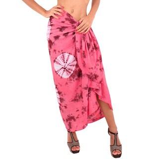 La Leela Gentle Rayon Women Plus Size Hand Tie Dye Coverup 78X43Inch LightOrange
