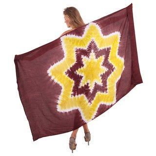 La Leela Women's 78-inch x 43-inch Brown Star Tie-dye Scarf Swim Coverup with Sarong Clip
