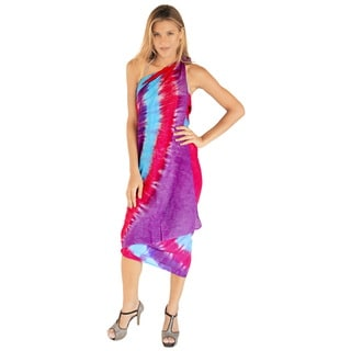La Leela Women's Hand Tie Dye Heart Purple Rayon 78-inch x 43-inch Beach Cover Up with Free Sarong C