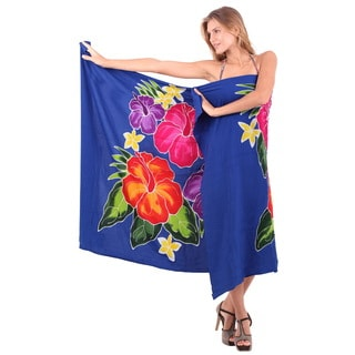 La Leela Women's Blue Hibiscus Rayon 78-inch x 43-inch Beach Coverup with Sarong Clip