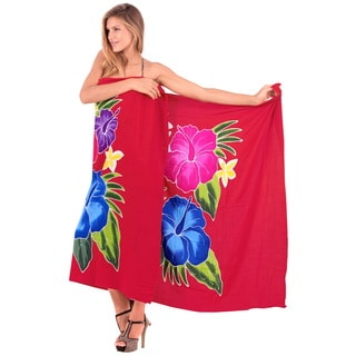 La Leela Soft Rayon Hibiscus Hand Paint Beach Skirt Cover up 78X43 Inch Red