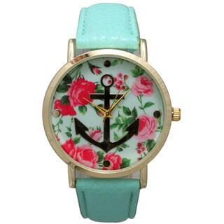 Olivia Pratt Women's Floral Dial Goldtone Anchor Leather Watch