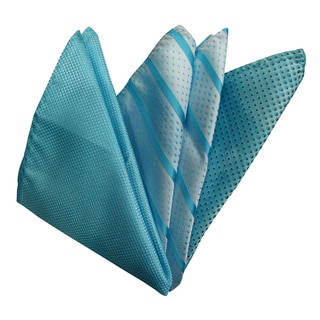 Dmitry Ties Men's Teal Italian Silk Pocket Squares (Pack of 3)