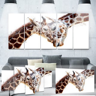 Designart 'Loving Giraffes' Animal Metal Wall Art