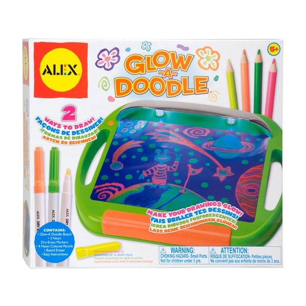 Alex Toys Glow-A-Doodle Neon Light-up Dry Erase Board With Markers