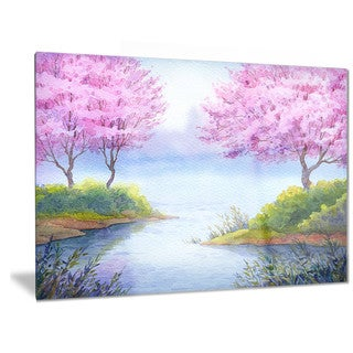 Designart 'Flowering Trees Over Lake' Landscape Metal Wall Art