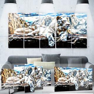 Designart 'White Tiger' Metal Wall Art