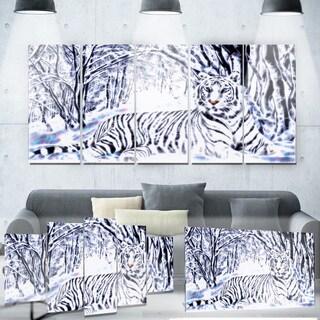 Designart 'White Tiger White Forest' Metal Wall Art