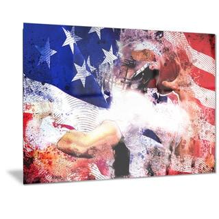 Designart 'Football USA Quarterback Metal Wall Art