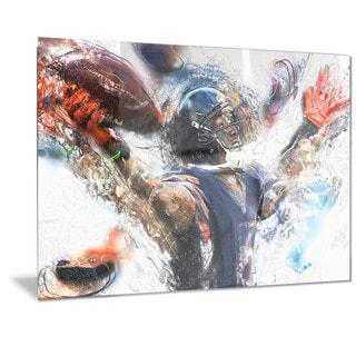 Designart 'Football Touchdown Metal Wall Art