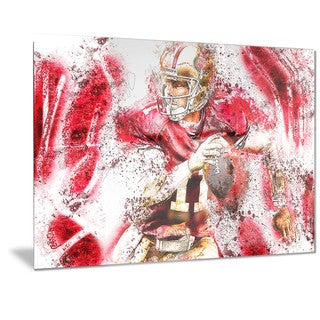 Designart 'Football Go Long Metal Wall Art