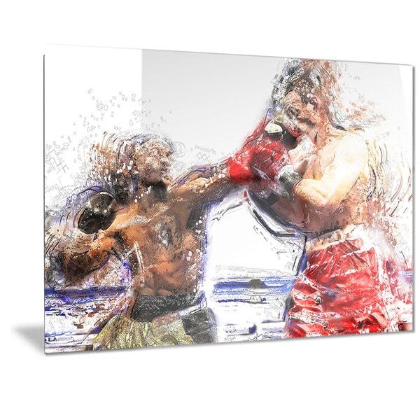 Designart 'Boxing Knock Out Metal Wall Art