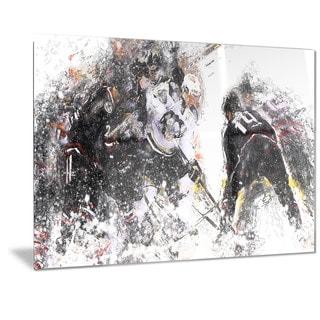 Designart 'Hockey Face Off Metal Wall Art