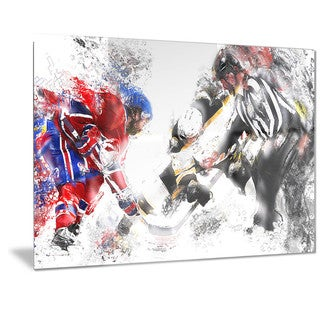 Designart 'Hockey Face Off Metal Wall Art