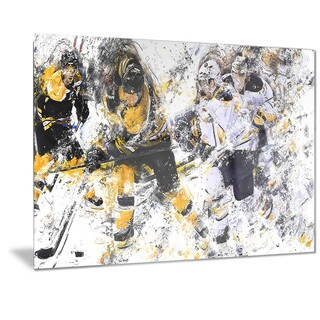 Designart 'Hockey Power Play Metal Wall Art
