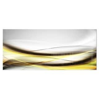 Designart 'Abstract Golden Waves' Abstract Digital Art Metal Wall Art