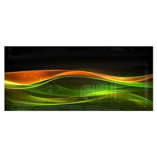 Designart 'Abstract Green Yellow in Black' Abstract Digital Art Metal Wall Art