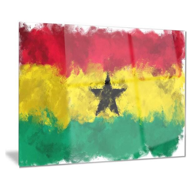 Designart \'Ghana Flag Illustration\' Flag Painting Metal Wall Art ...