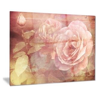 Designart 'Pink Roses in Vintage Style' Floral Digital Metal Wall Art