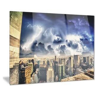 Designart 'Storm Above Manhattan Skyscrapers' Cityscape Photo Metal Wall Art