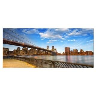Designart 'Calm Sky Over Brooklyn Bridge' Cityscape Photo Metal Wall Art